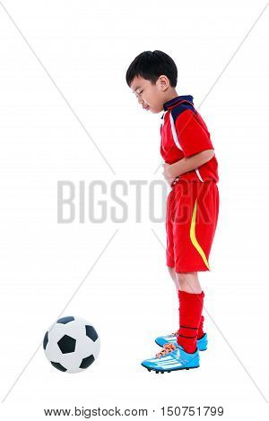 Youth Asian Soccer Player Stomachache. Full Body. Isolated On White.