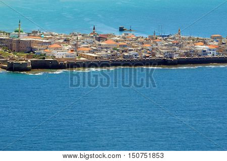 Aerial view of the city skyline of Acre Akko Israel.