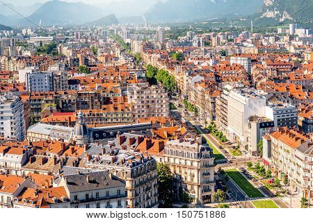 Morning cityscape top view on the main avenue in Grenoble city on the south-east of France