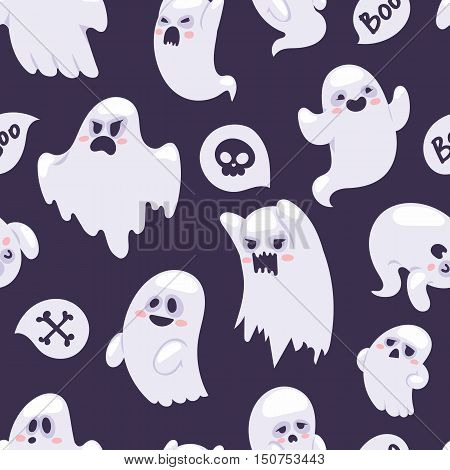 Cartoon spooky semless pattern character vector set. Spooky and scary holiday monster design ghost character. Costume evil silhouette ghost character creepy funny cartoon cute spooky