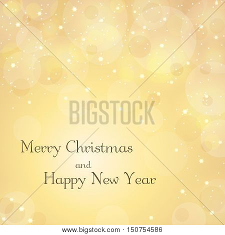 Merry Christmas gold background with text. Stars glitter white winter snowflakes. Vector illustration