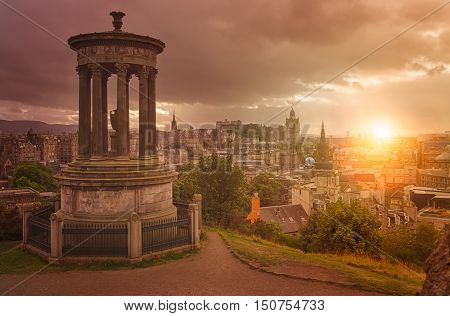 Panoramic aerial view over the historic center of Edinburgh Scotland as seen from from Calton Hill