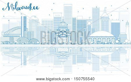Outline Milwaukee Skyline with Blue Buildings and Reflections. Business Travel and Tourism Concept with Modern Architecture. Image for Presentation Banner Placard and Web.