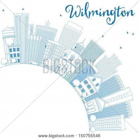 Outline Wilmington Skyline with Blue Buildings and Copy Space. Business Travel and Tourism Concept with Modern Architecture. Image for Presentation Banner Placard and Web Site.