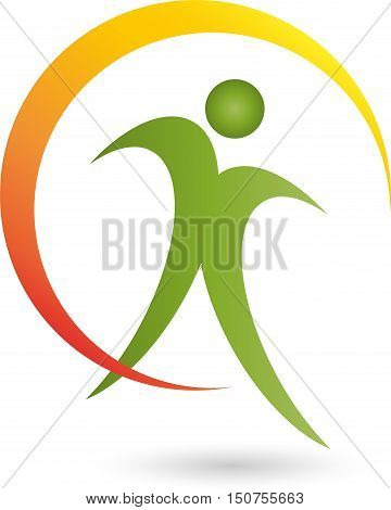 Man and circle, fitness and health, naturopathic logo