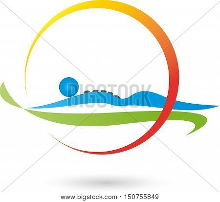 Human and stones, massage and naturopathic logo
