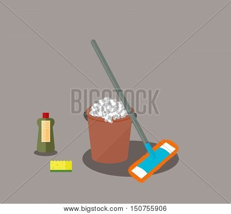 Tools for housekeeping: a brown bucket with soapy foam, MOP with grey handle and orange cloth, green bottle of detergent with a red cover, yellow sponge. Vector illustration. Cleaning