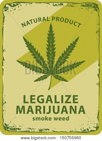 vector banner with cannabis leaf and labeled legalize marijuana