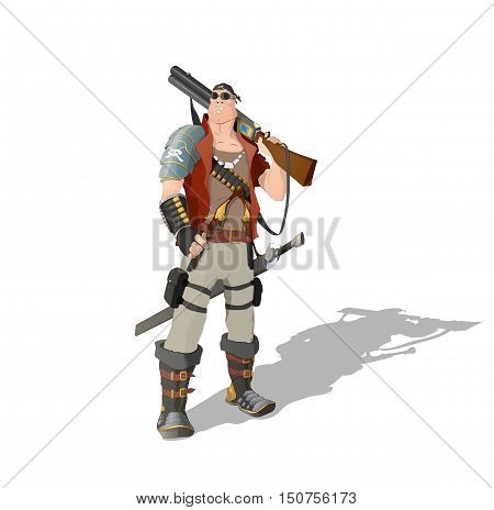 Space pirate man standing with rifle, pistols and sword