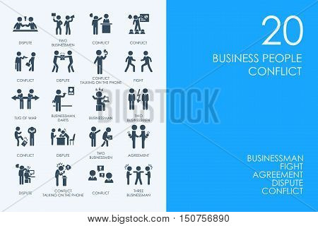 BLUE HAMSTER Library business people conflict vector set of modern simple icons