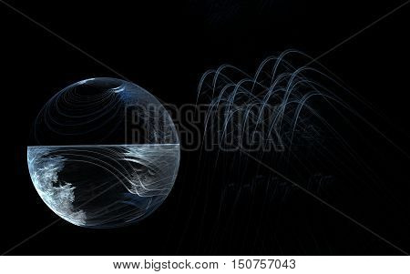 transparent sphere divided in half equator with freezing the bottom of the crater and the upper part of the right side and wavy lines on a black background.