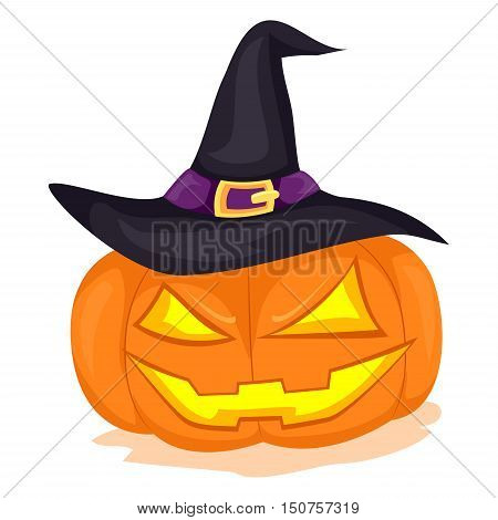 Vector Illustration of Pumpkin with Witch Hat
