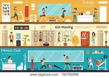 Energy Get Moving Fitness Club flat fitness interior outdoor concept web. Career Chart Fun