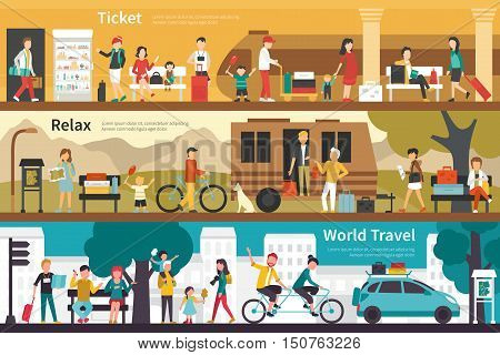 Ticket Relax World Travel flat tourism interior outdoor concept web. Career Chart Fun