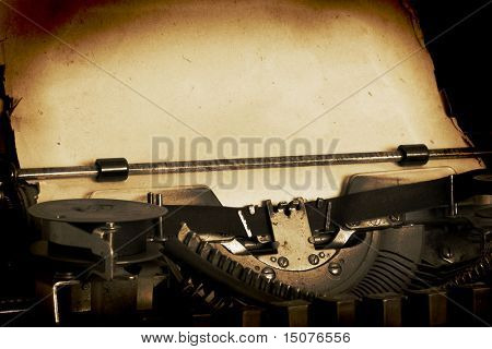 retro typewriter with paper
