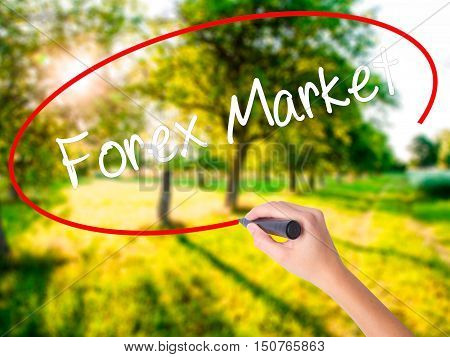 Woman Hand Writing  Forex Market With A Marker Over Transparent Board