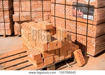 plant for production building material with ready brick construction industrial photo