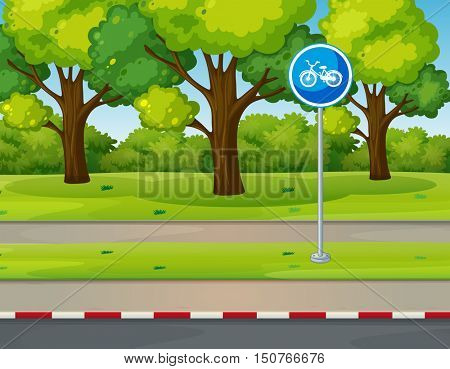 Park scene with bike lane on the road illustration