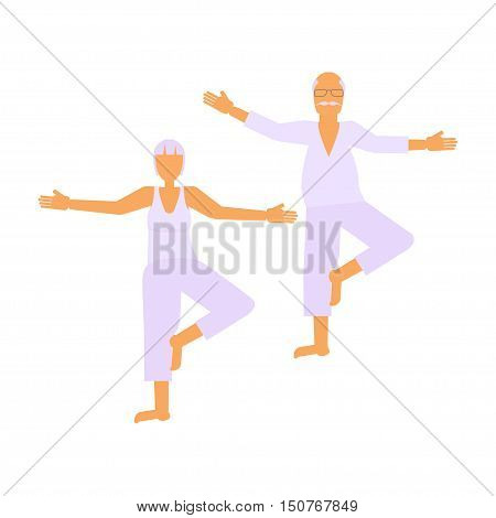 Elderly people doing exercises in different poses. Healthy active lifestyle retiree. Sport for grandparents, elder fitness, yoga for Seniors isolated on white background. Vector illustration eps10