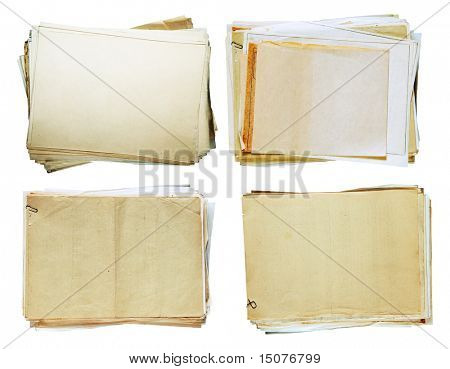 stacks of old papers set isolated on white background with clipping path