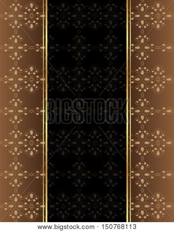 Elegant seamless wallpaper with golden fine decoration and place for your text. Layout with space for classic invitation, flayer or cards.