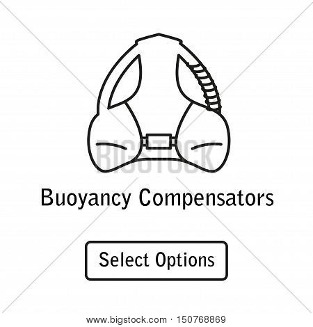 Icon buoyancy compensator scuba diving equipment in a modern style lines. Isolated element for website, online Store or shop. Vector illustration. eps10