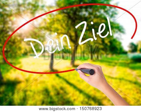 Woman Hand Writing Dein Ziel (your Goal In German)  With A Marker Over Transparent Board