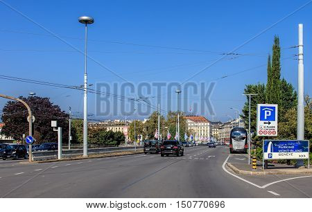 Geneva, Switzerland - 24 September, 2016: traffic on the Pont du Mont-Blanc bridge. Geneva is the second most populous city in Switzerland, after Zurich and is the most populous city of Romandy, the French-speaking part of Switzerland.