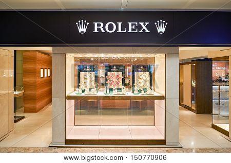 GENEVA, SWITZERLAND - NOVEMBER 19, 2015: Rolex store at Geneva Airport. Geneva Airport is the international airport of Geneva, the second most populous city in Switzerland.