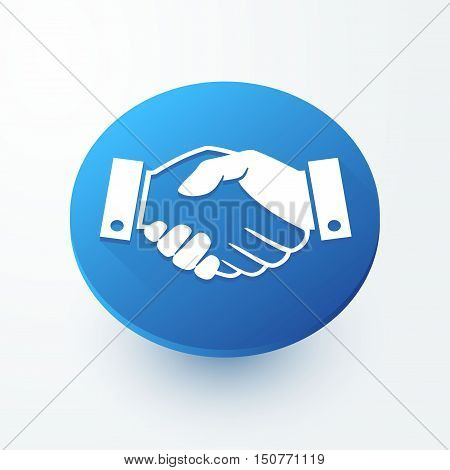 Handshake sign 3d button. Successful business symbol. Circle button with icon.