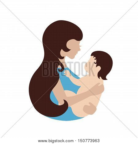 Mother and baby symbol. Illustration of woman holding baby. Concept of maternity love and care.