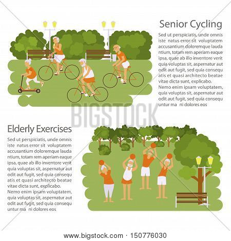 Banners of Retired elderly senior age couple in creative flat vector character design. Grandpa and grandma doing sport exercises in park. Grandparents active lifestyle. Vector illustration eps10