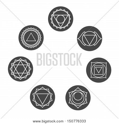 Set of seven chakras icons. Yogameditation and energy centers simbols.Vector illustration. Muladharamooladharasvadhisthanaswadhisthanamanipurmanipuraanahatavishuddhavishudhaajnasahasraraakashathird eye.