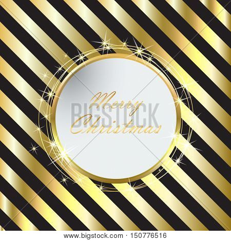 Black Christmas background with Golden stripes eps10