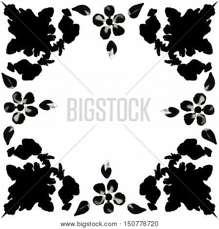Illustration of a border of black ink blots with ink flowers. Hand made painting.
