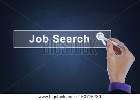 Businessman hand touching a job search button with a stylus pen on the virtual screen. Concept of job search.