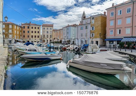 The small marina in Muggia in eastern Italy