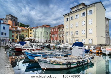 The marina in Muggia a small town in east Italy