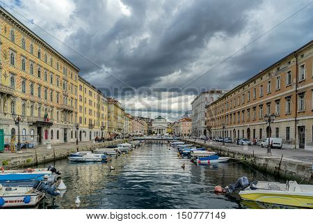 The Grand Canal on an overcast day in Trieste Italy