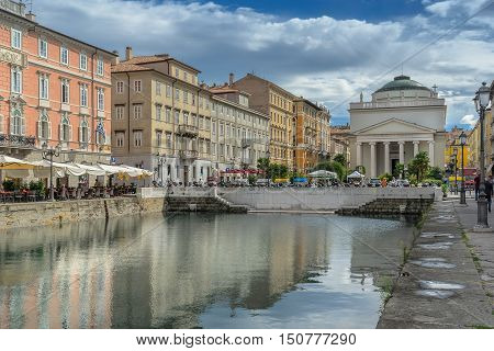 Looking towards the Church of San Antonio on the Grand Canal in Trieste