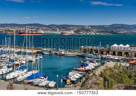 Looking across the marina in Muggia in eastern Italy