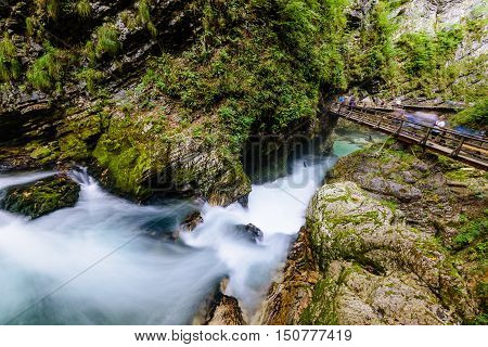Vintgar gorge, Slovenia - September 12, 2016: The famous Vintgar gorge Canyon with wooden pats in the natural Park Triglav.