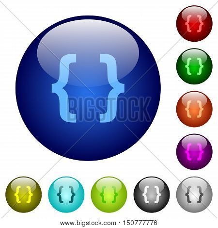 Set of color programming code glass web buttons.