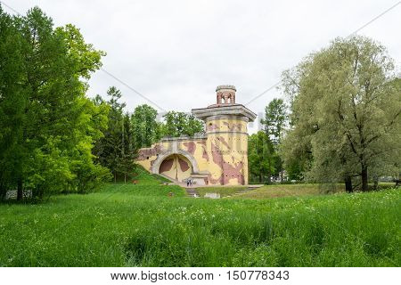 Pushkin, RUSSIA - 31 MAY 2015: Tsarskoye Selo in Pushkin 31 May 2015, Russia. The Palace and Park ensemble. Buildings and attractions.