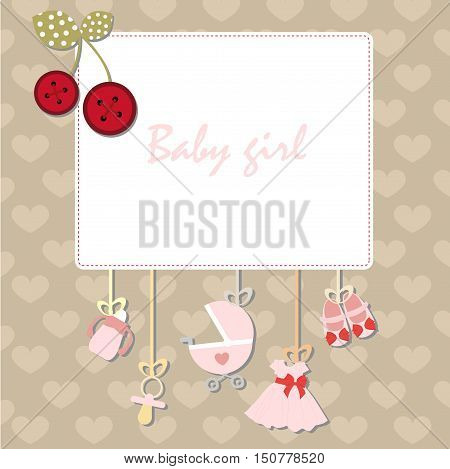 Decorative baby frame design template for invitation, greeting, birthday, postcard, frame, baby texture, child album template for children, holiday card, vector, baby shower and arrival.  baby girl