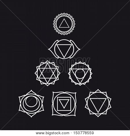 Symbols of seven chakras of the human body energy vector illustration black and white colors.