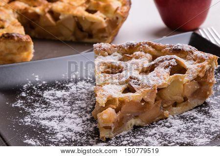 Apple Pie Slice On Black Plate