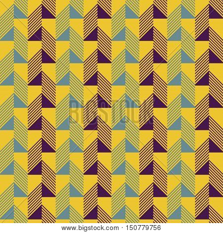 Abstract seamless pattern in contrasting retro color palette. Narrow rectangular tiles with triangles and diagonal lines inside. Vector illustration for various creative projects