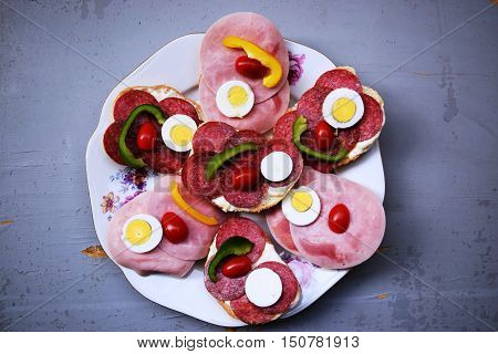 Sandwiches on a table the buffet.Catering service plate