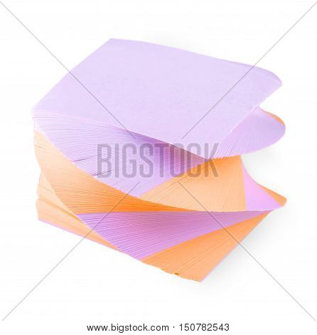 post-it notes twisted spiral on white background with clipping path
